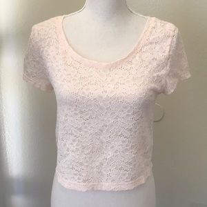 Express Soft Pink Lace Cropped Top